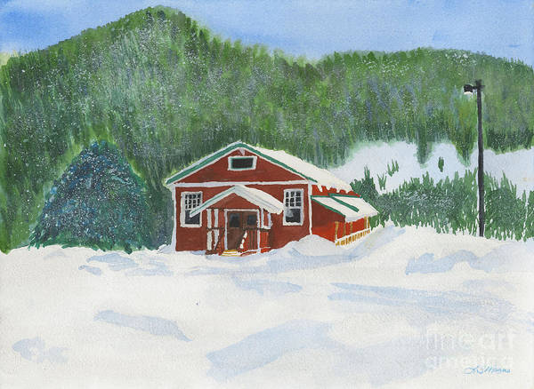 Schoolhouse Art Print featuring the painting Red School House by Louise Magno