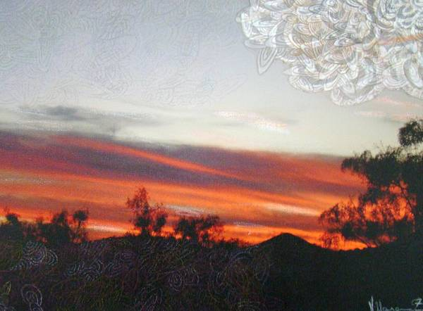 Landscape Art Print featuring the mixed media Red Sunset One A by Ana Villaronga