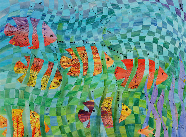 Fish Art Print featuring the painting Reef 1 by Linda L Doucette