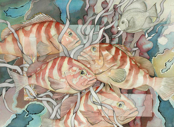 Fish Art Print featuring the painting Reef Story by Liduine Bekman