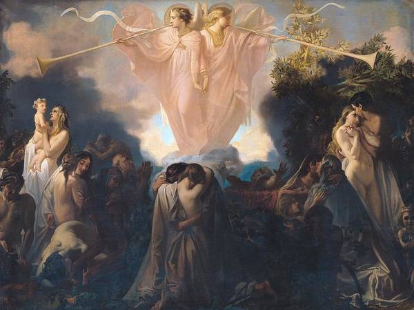 Angels Art Print featuring the painting Resurrection Of The Dead by Victor Mottez
