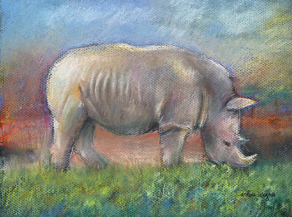 Rhino Art Print featuring the pastel Rhino by Arline Wagner