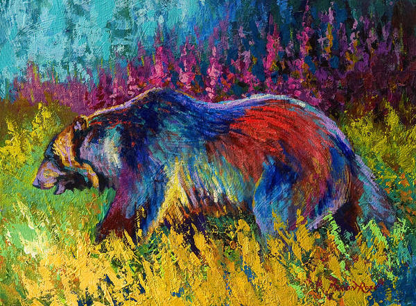 Western Art Print featuring the painting Right Of Way - Grizzly Bear by Marion Rose