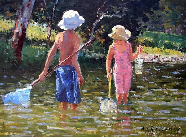 River Fun Art Print featuring the painting River Fun by Roelof Rossouw