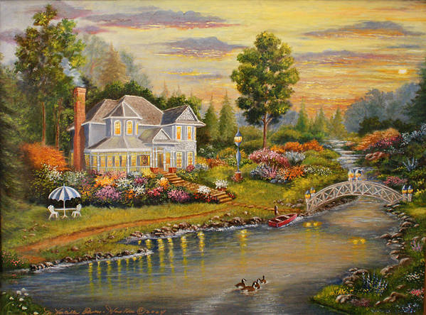 Landscape Art Print featuring the painting River Home by Lucille Owen-Huston