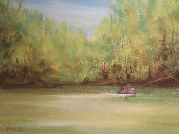 Fishing Art Print featuring the painting Rivergreen by Pete Maier