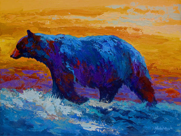 Bear Art Print featuring the painting Rivers Edge I by Marion Rose