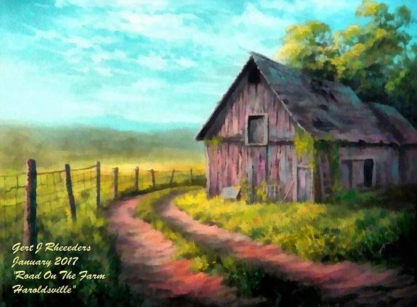 Farm Art Print featuring the painting Road On The Farm Haroldsville L A by Gert J Rheeders