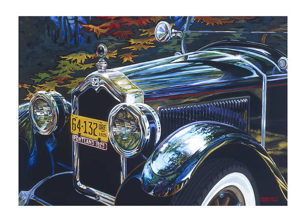 Buick 1925 Portland Ore Car Automobile Antique Black License Plate Reflection Trees Fall Leaf Green Art Print featuring the painting Roadmaster by Mike Hill