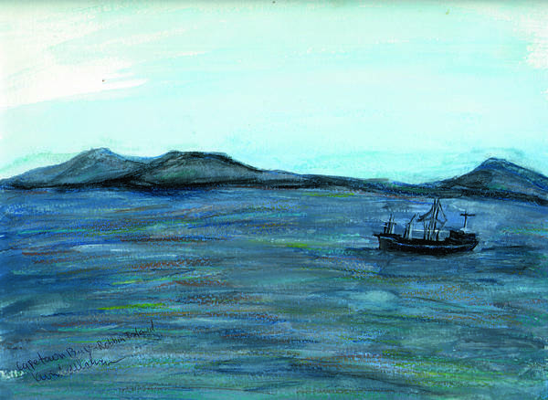 Kevin Callahan Art Print featuring the painting Robbin Island Capetown Bay South Africa by Kevin Callahan