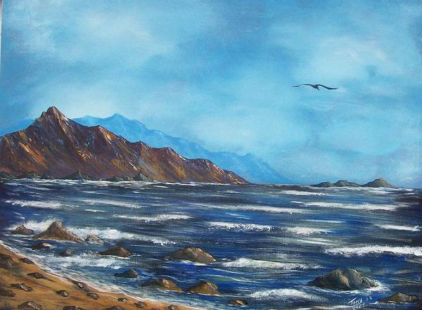 Seascape Art Print featuring the painting Rocky Shores by Tony Rodriguez