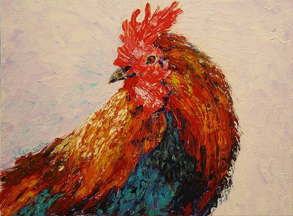 Rooster Art Print featuring the painting Rooster 1 by Laura Gabel