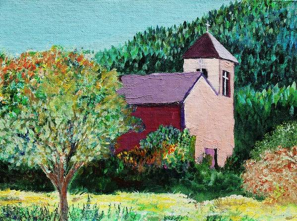 Church Art Print featuring the painting Ruidoso by Melinda Etzold