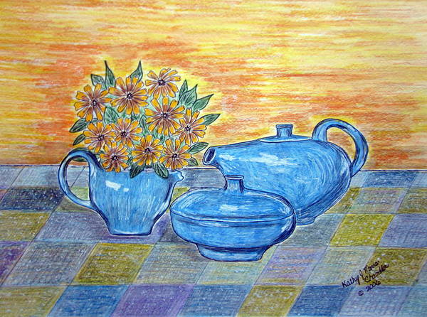Russell Wright China Art Print featuring the painting Russel Wright China by Kathy Marrs Chandler