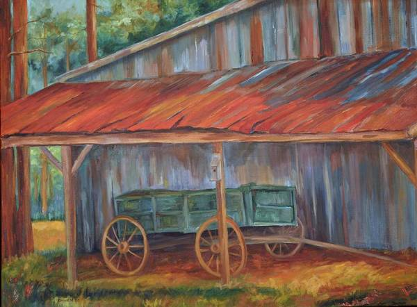Old Wagons Art Print featuring the painting Rustification by Ginger Concepcion