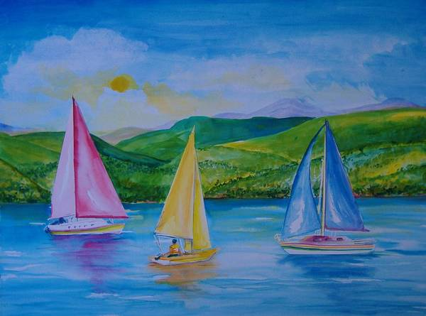 Sailboats Art Print featuring the painting Sailboats by Laura Rispoli
