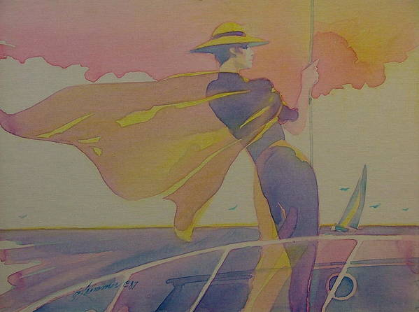Art Deco Art Print featuring the painting Sailing Into The Sunset by Gary Kaemmer