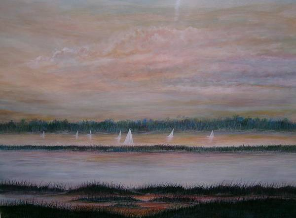 Sailboats; Marsh; Sunset Art Print featuring the painting Sails In The Sunset by Ben Kiger