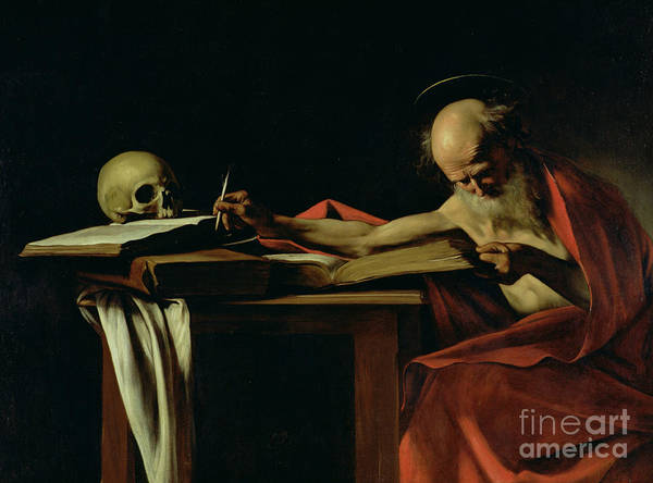 St Jerome Writing Print featuring the painting Saint Jerome Writing by Caravaggio