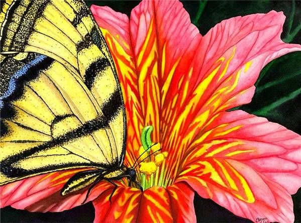 Salpiglossis Art Print featuring the painting Salpliglossis by Catherine G McElroy