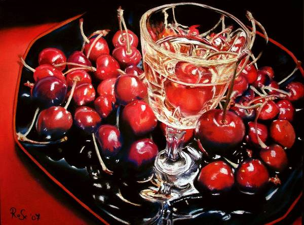 Still Life Art Print featuring the painting Salut Mon Cherie by Rose Sciberras