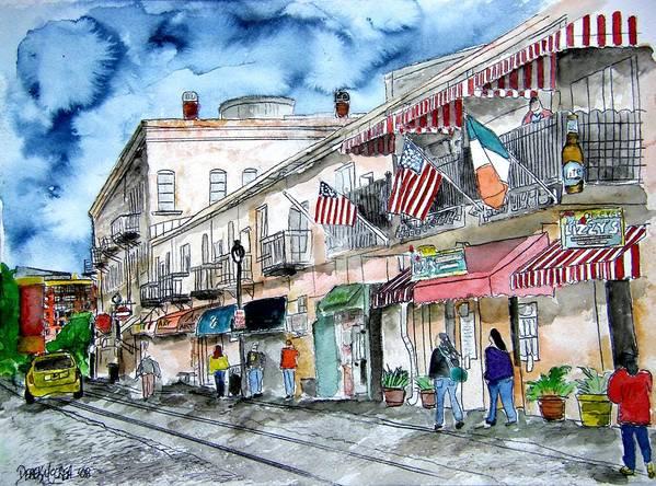 Pen And Ink Art Print featuring the painting Savannah Georgia River Street by Derek Mccrea