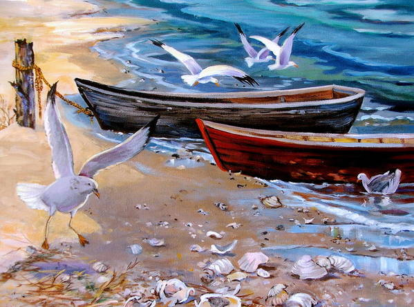 Sea Gulls Art Print featuring the painting Sea Gull Cove by Dianna Willman