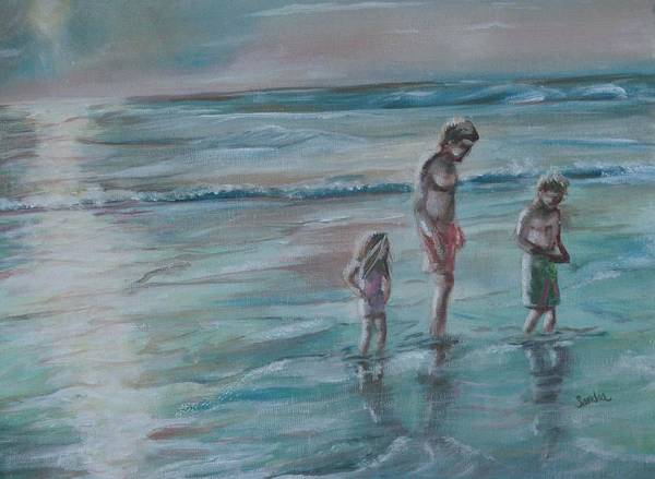 Beach Scene Art Print featuring the painting Searching For Shells by Sandra Valentini