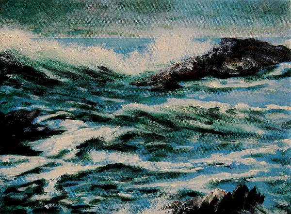 Sea Art Print featuring the painting Seascape by Veronique Radelet