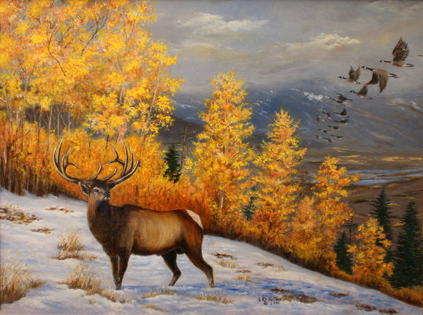 Wildlife Art Print featuring the painting Selkirk Elk by Lucille Owen-Huston