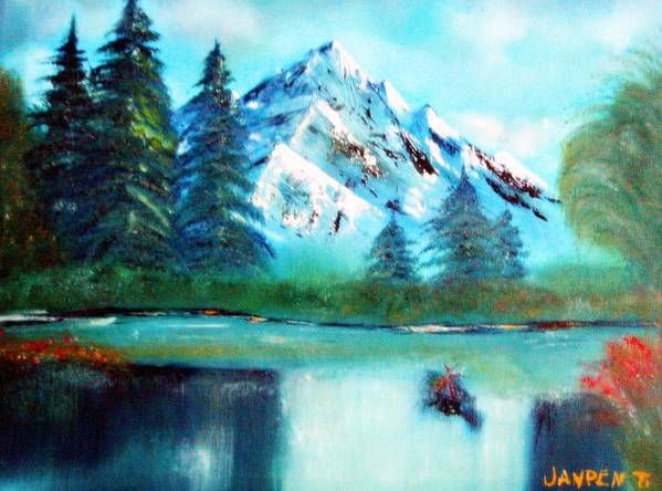 Mountain Art Print featuring the painting Serenity by Janpen Sherwood