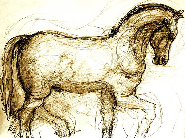 Horse Art Print featuring the drawing Set The Stallion Free by Dan Earle