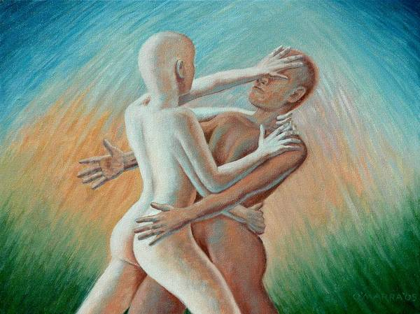 Nude Art Print featuring the painting Shakti Push - Pull by Allan OMarra