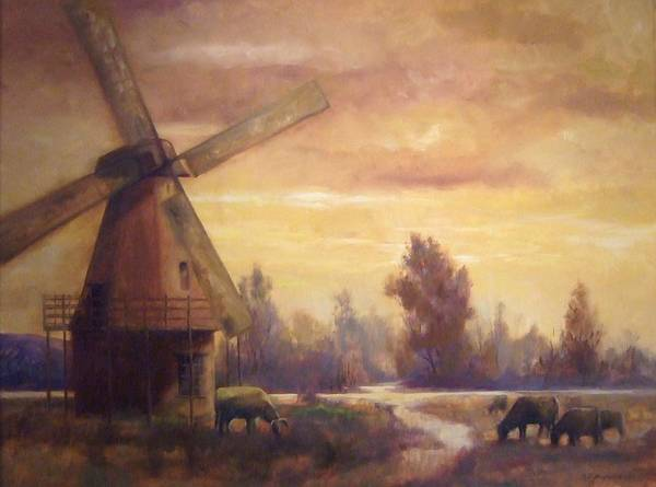 Windmill Art Print featuring the painting Sienna Mill by Ruth Stromswold