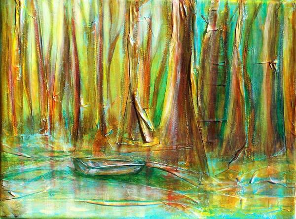 Landscape Art Print featuring the mixed media Silent Swamp by Sandy Hemmer