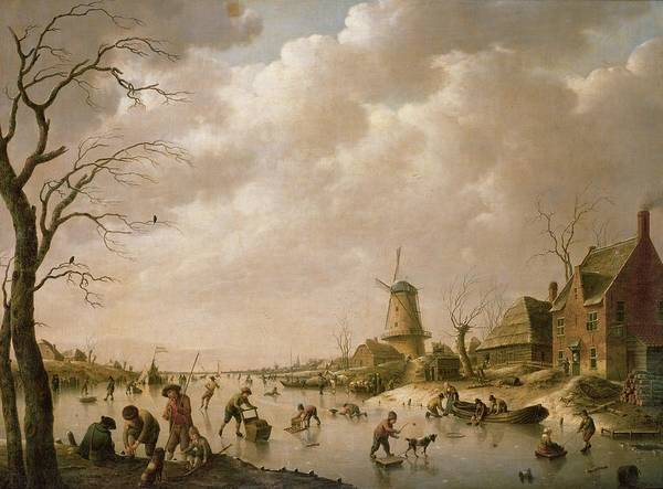Skaters Print featuring the painting Skaters On A Frozen Canal by Hendrik Willem Schweickardt