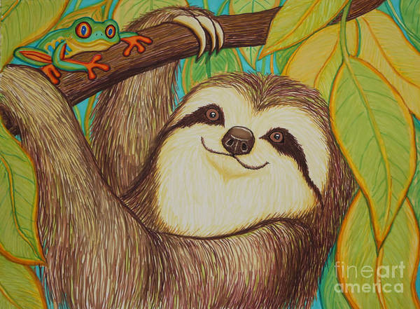 Sloth Art Print featuring the drawing Sloth And Frog by Nick Gustafson