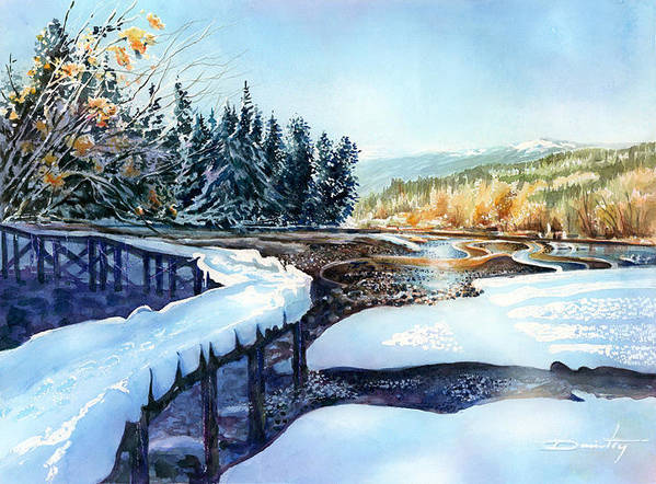 Landscape Art Print featuring the painting Snow Blanket Over Shoreline Trials by Dumitru Barliga