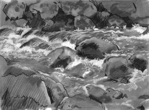 Creek Art Print featuring the drawing Snow Creek In Spring by Robert Bissett