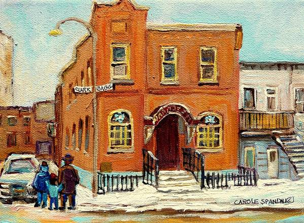 Bagg Street Synagogue Art Print featuring the painting Solomons Temple Montreal Bagg Street Shul by Carole Spandau