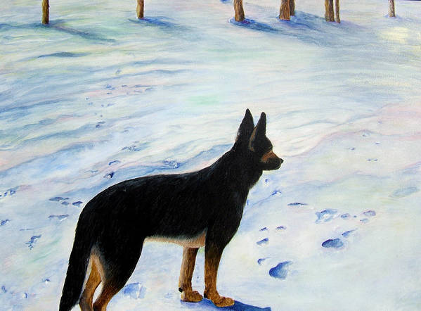 German Shepherd Art Print featuring the painting Sounds Of Silence by JoLyn Holladay