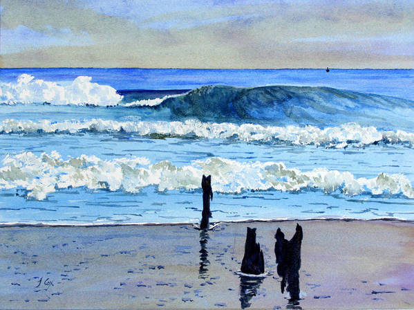 Seascape. Waves. Art Print featuring the painting South Beach. by John Cox