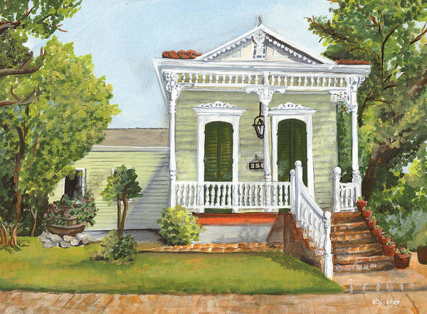 House Art Print featuring the painting Southern Louisiana Charm by Elaine Hodges