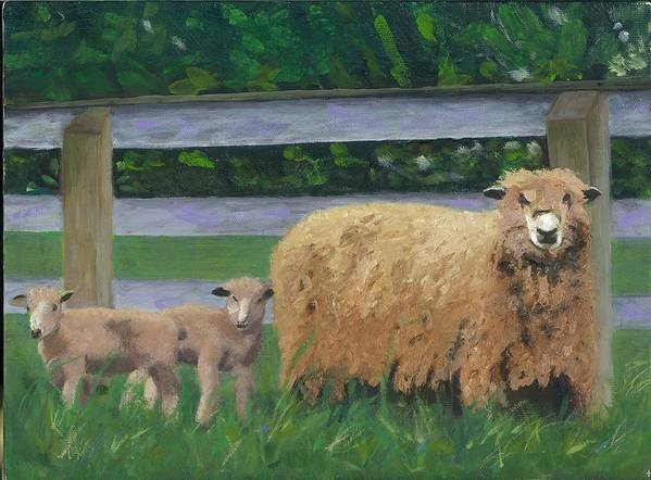 Sheep Lambs Countryside Farm Spring Art Print featuring the painting Sping Lambs by Paula Emery