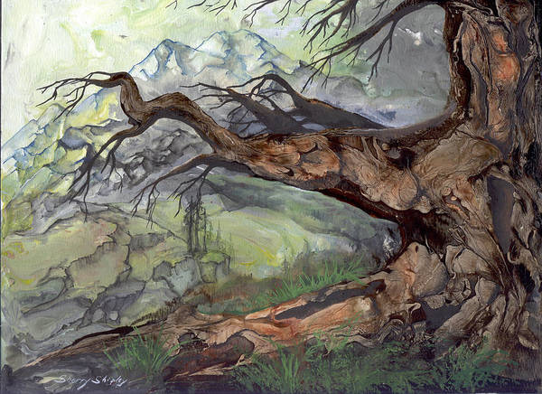 Bark Art Print featuring the painting Spirit Tree by Sherry Shipley