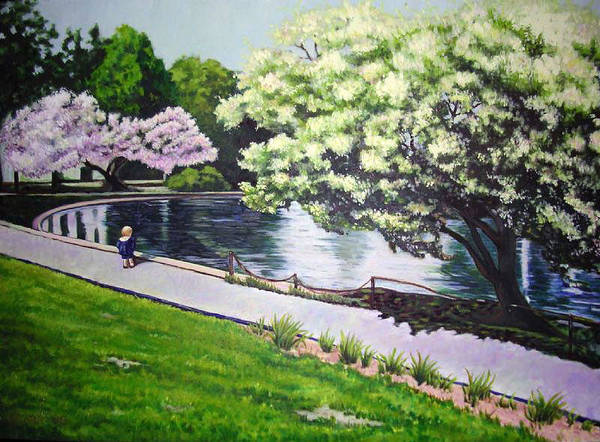 Springtime Impressionist Landscape Lake Flowers Child Art Print featuring the painting Spring At Snug Harbor by Hilary England