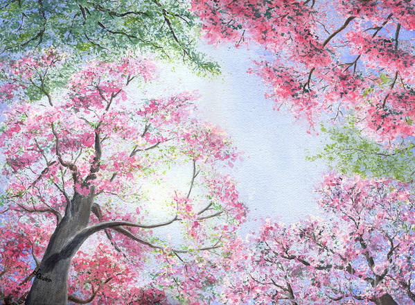 Tree Blossoms Art Print featuring the painting Spring Blossoms by Lynn Quinn