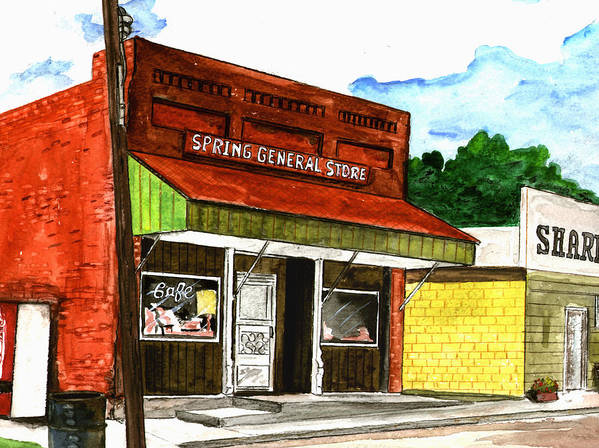 Kevin Callahan Art Print featuring the painting Spring General Store Sharpsburgh Iowa by Kevin Callahan