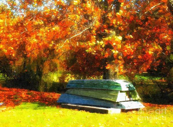 Fall Print featuring the photograph Stack Of Boats by Kathy Jennings