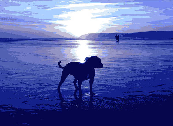 Staffordshire Bull Terrier Art Print featuring the digital art Staffordshire Bull Terrier On Beach by Michael Tompsett